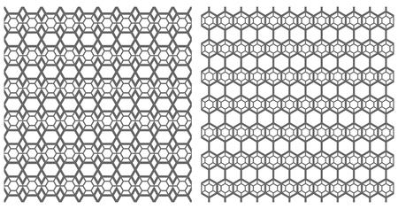 latticed: Hexagons patterns set. Seamless latticed textures. Vector art.