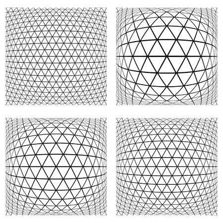 latticed: Triangles, diamonds and hexagons patterns. 3D geometric latticed textures.  Design elements set. Vector art.