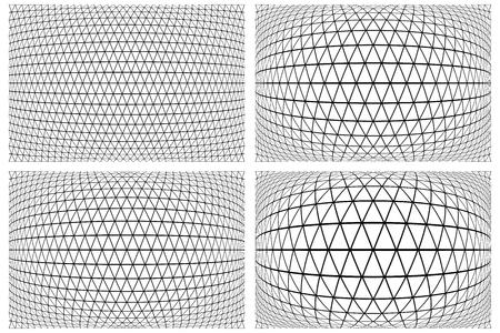 3D latticed patterns set. Geometric textures. Vector art. Illustration