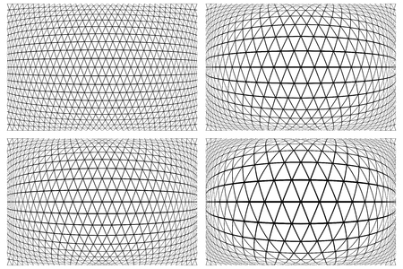 reticular: 3D latticed patterns set. Geometric textures. Vector art. Illustration