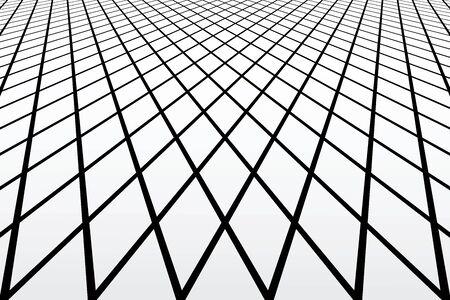 latticed: Diamonds latticed geometric texture. Perspective view. Vector art.