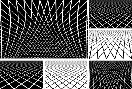 latticed: Lines latticed patterns. Abstract geometric backgrounds set. Vector art.