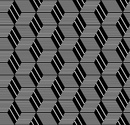 op: Seamless op art pattern. Geometric diamonds and hexagons texture. Vector art.