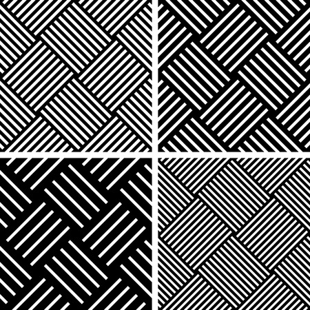 checked: Seamless checked patterns set. Geometric diagonal textures. Vector art.