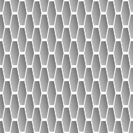 iteration: Seamless pattern with striped hexagonal elements. Geometric texture. Vector art.