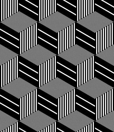op: Seamless op art pattern. Geometric hexagons and diamonds texture. Vector art. Illustration
