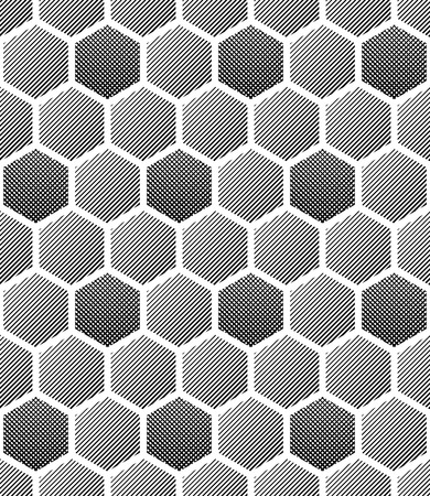 monochromic: Seamless hexagons texture. Honeycomb pattern. Vector art.