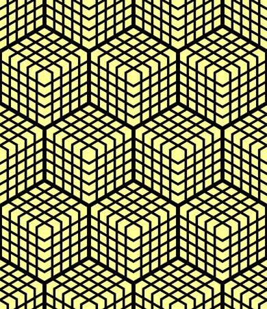 latticed: Seamless geometric pattern. 3D illusion. Latticed structure. Vector art.