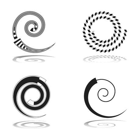 espiral: elementos de diseño en espiral establecen. Arte del vector.
