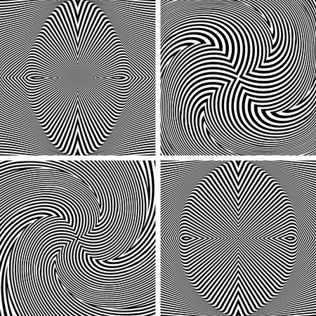 Abstract op art patterns. Textured backgrounds set.