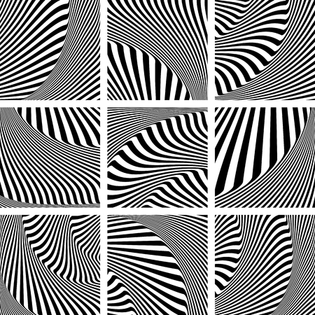 op: Abstract op art patterns set.