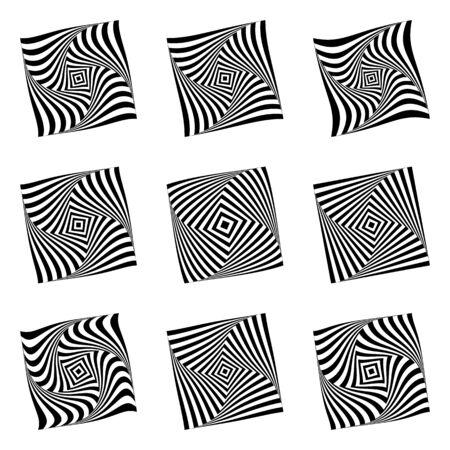 torsion: Design elements set. Torsion movement illusion.