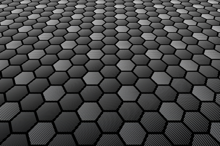 tiled: Hexagons tiled textured surface. Perspective view. Illustration