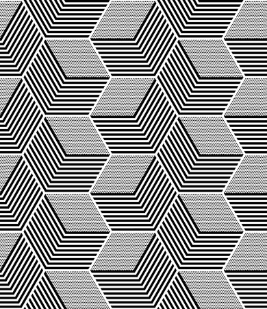 Seamless op art pattern. Geometric hexagons and diamonds texture.