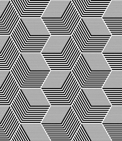 Seamless op art pattern. Geometric hexagons and diamonds texture.