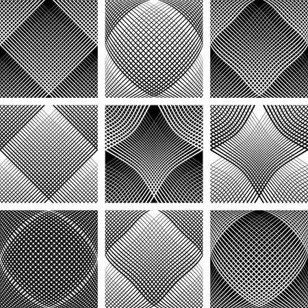 concave: Meshy patterns. Convex and concave optical effect. Design elements set.
