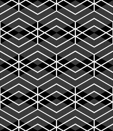 iteration: Seamless diamonds and hexagons pattern. Illustration