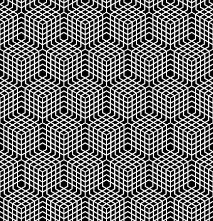 latticed: Seamless geometric pattern. 3D illusion. Latticed structure.