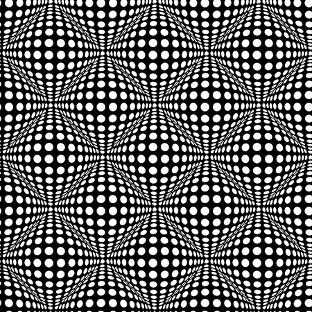 optical: Seamless polka dot pattern with optical 3D effect. Illustration