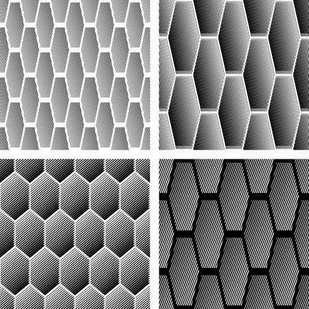 Patrones geométricos sin problemas con elementos hexagonales de rayas.