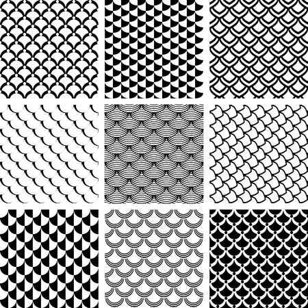 Modelos inconsútiles fijados con motivo de la escala de peces Ilustración de vector