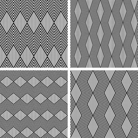 zig zag: Seamless zig zag and diamond shape patterns. Geometric textures set. Illustration