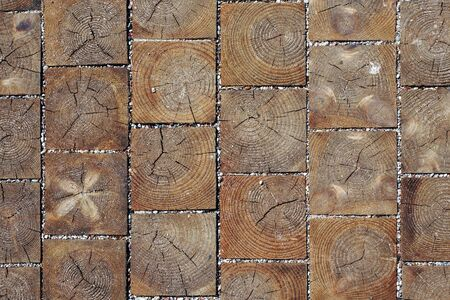 wood blocks: Wood blocks pavement texture. Abstract natural wooden background.