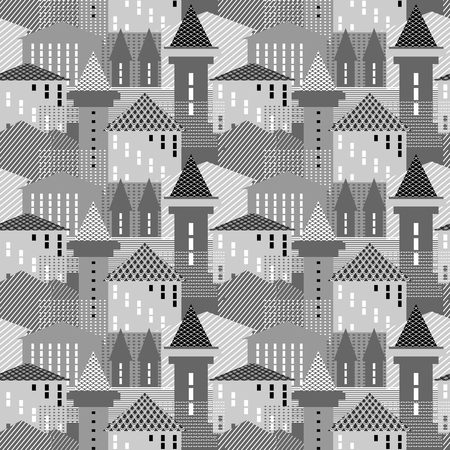 old houses: Abstract city wallpaper. Seamless architectural pattern.