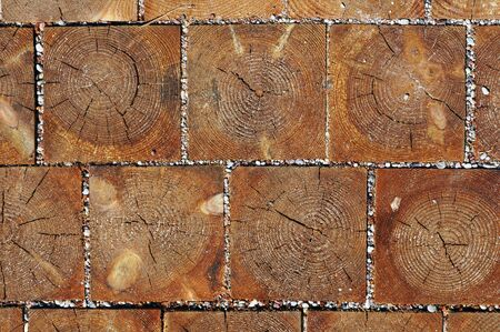 footway: Wooden blocks pavement texture. Abstract natural wood background.
