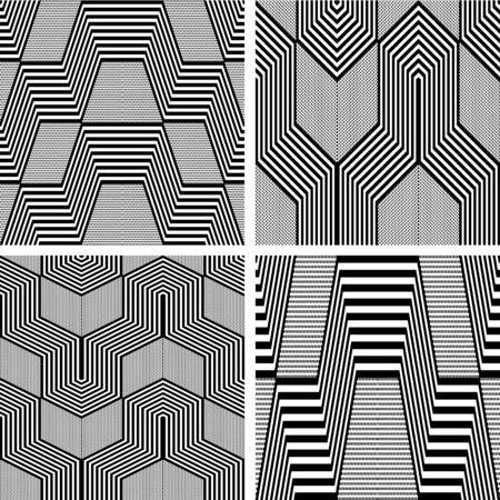Seamless geometric op art patterns set.