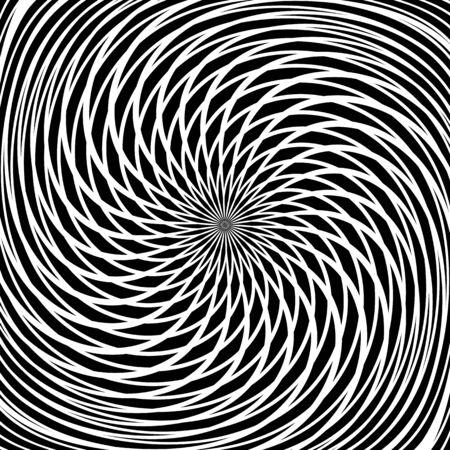 blackwhite: Circular rotation movement. Abstract textured background. Illustration
