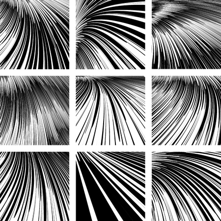 textured effect: Abstract textured backgrounds set. Effect of movement, speed and perspective. Illustration
