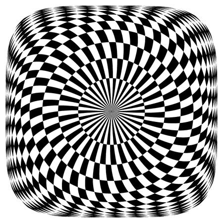 Op art pattern. Rotation illusion. Illustration