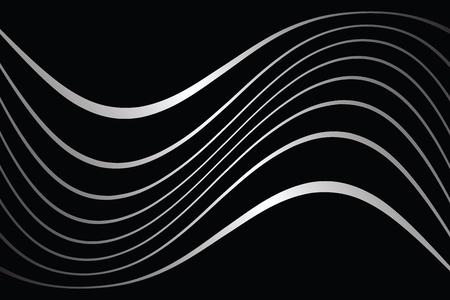 lignes ondulées sur fond noir Vecteurs