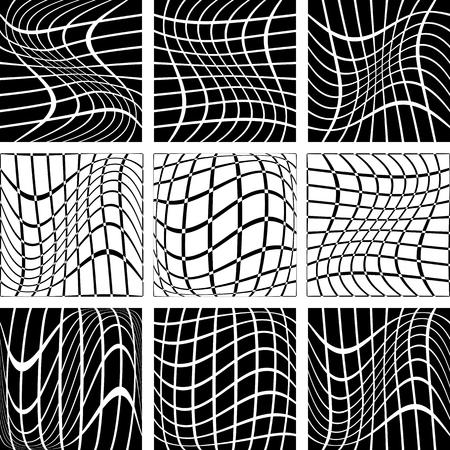 interweaving: Crossing wavy lines in net backdrops Illustration