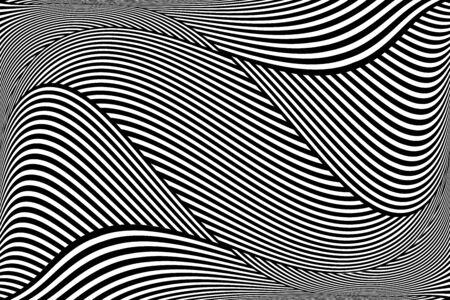 Op-art golvend lijnenpatroon. Abstracte gestructureerde achtergrond. Vector illustratie.