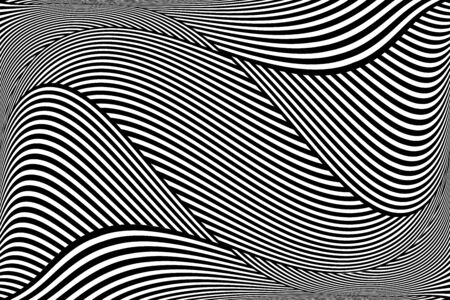 Op art wavy lines pattern. Abstract textured background. Vector illustration.