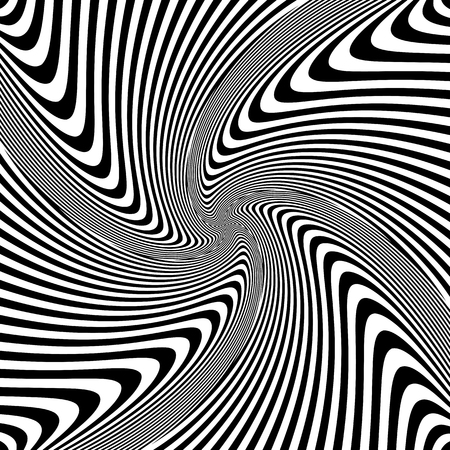 Torsion rotation vortex movement. Abstract op art design. Vector illustration.
