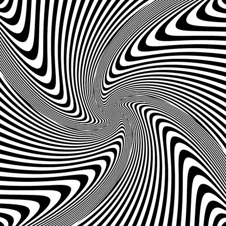 torsion: Torsion rotation vortex movement. Abstract op art design. Vector illustration.