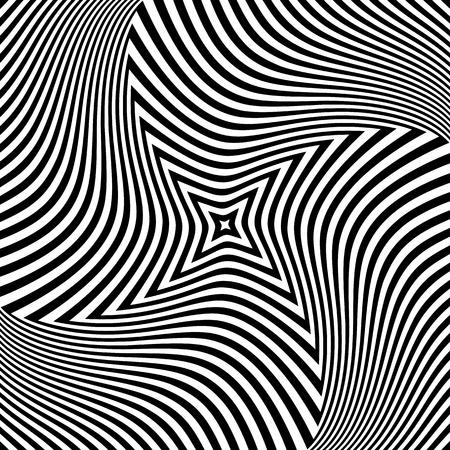 Torsion rotation movement. Abstract op art design. Vector illustration. Illustration