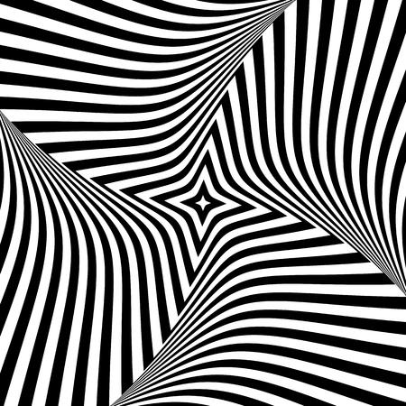 Abstract op art design. Torsion movement illustration.