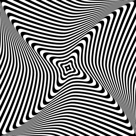 Abstract op art design. Rotation and torsion movement illustration.