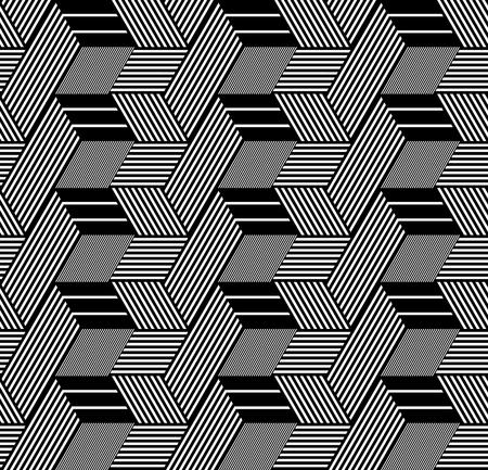 interweaving: Seamless op art pattern. 3D illusion. Geometric texture. Vector illustration. Illustration