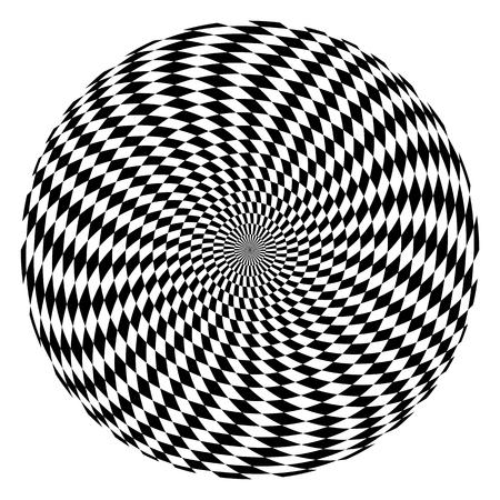 Circle op art pattern. Rotation movement illusion. Vector illustration.