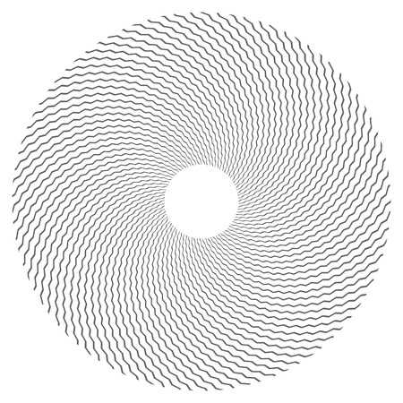 Circle design element. Zigzag lines texture. Vector art.
