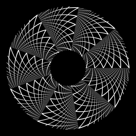 Abstract circle rotation design element on black background. Vector art.