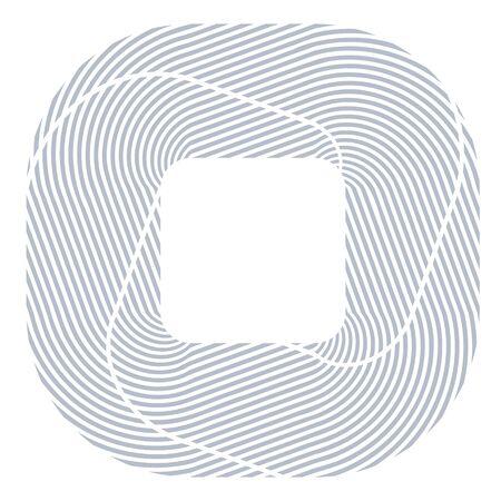 Square design element. Lines texture. Vector art.
