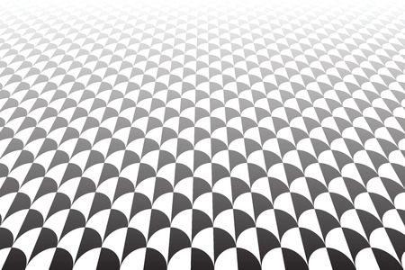 Diminishing perspective view. Fish scales pattern. Vector art.
