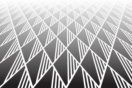Patrón geométrico de diamantes y triángulos. Disminución de la vista en perspectiva. Fondo de textura Vector art. Foto de archivo - 90150428