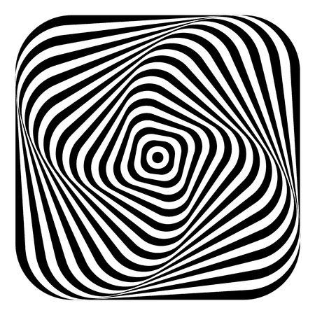 Abstract graphic design. Torsion rotation movement illusion. Lines texture. Vector art. Illustration